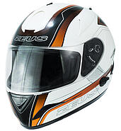 Zeus Helmet closed with a blend of ZEUS ZS 806 II 52 white and orange