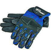 Motorcycle gloves IM black and blue mesh