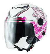 Zeus Open helmet with a blend of ZEUS ZS202FB T29 white and pink