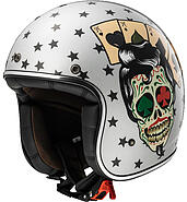 LS2 Kask otwarty LS2 OF583 Bobber Tattoo Silver