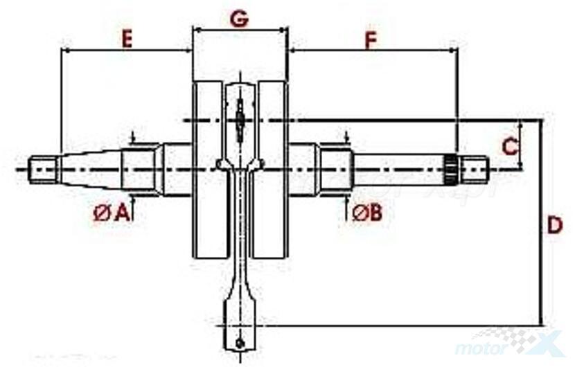 Wał korbowy 12mm Top Racing Standard Derbi Senda