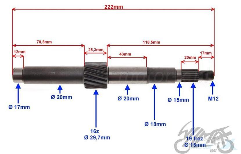 Wałek sprzęgłowy przekładni tylnej 222mm 16 zębów ATV Shineray ATV200
